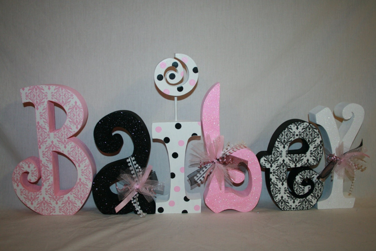 Baby girl nursery decor 6 letter set pink and black decor for Baby name letters decoration