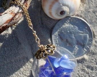 Handmade Necklace Hand Blown Glass Hollow Bead 14k Gold Chain Blue Sea Glass