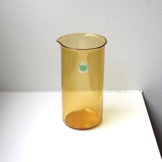 SALE Mid Century Modern Amber Glass Beaker Pitcher Takahashi Hand Blown Art Glass Japan