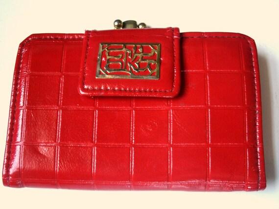 Ladies Red Vintage Wallet Red Vegan Wallet