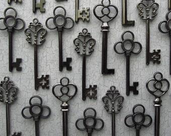The Antero  Collection - Skeleton Key Assortment in Gunmetal Black - Set of 30 Keys - Three Styles