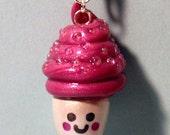 SALE Happy Kawaii Cupcake Necklace w/ Aurora Borealis Glass Beads - Miniature Food Jewelry - Cute Pink and White Polymer Clay Cupcake