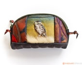 Womens wallet - genuine leather soft pouch hand painted change purse with owl