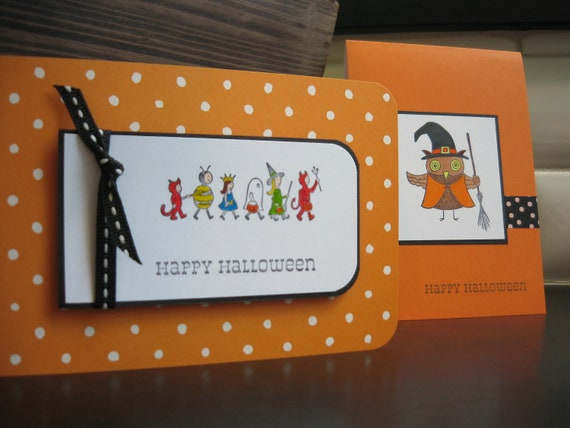 Halloween Cards Set of 2 Costumes on Parade Owl Witch Orange Handstamped