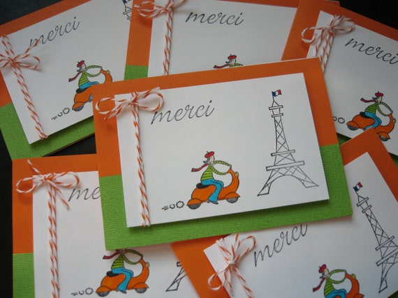 Reserved for Elspeth. Merci Thank You Cards Set 12 Cards Paris France Lover Vespa Eiffel Tower