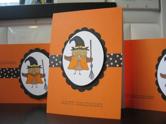 Owl Halloween Card Set 3 Cards Witch Orange
