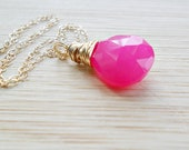 Hot Pink Necklace, AAA Hot Pink Chalcedony Gemstone 14k Gold Fill Fluorescent Neon Jewelry Gift For Womem