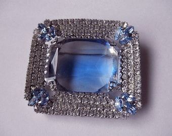 vintage blue pin with rhinestones