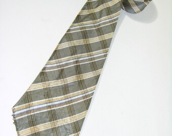 vintage 1930's  Men's neck tie. Woven intersecting stripes like plaid. Very shiny and thin.