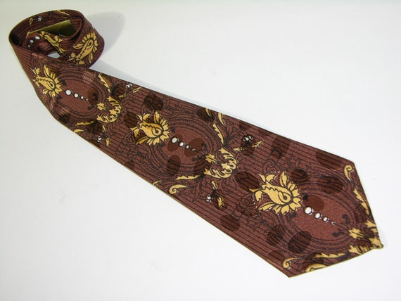 vintage 1940's Men's neck tie. 'New Old Stock' w/ band. Rococo Print - Jacquard woven. Crestwood Cravats