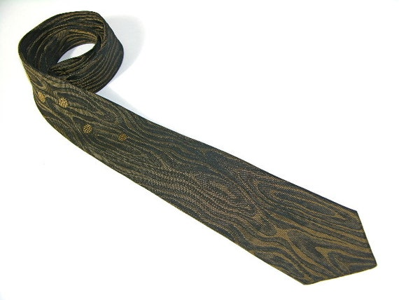 RESERVED for dark1p...vintage 50's - 60's Men's skinny necktie. Very funky...Moire pattern with floating orbs. Atomic age