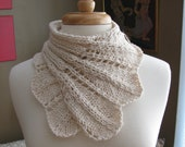 Feather Lace Buttoned Wrap Cowl pattern--PDF