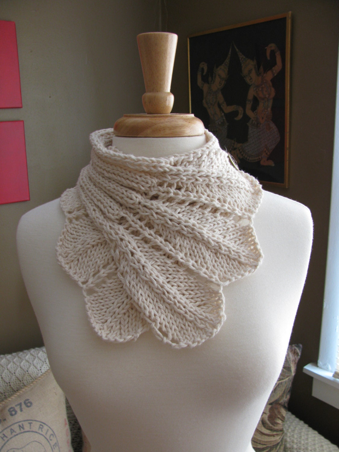 Knitting Pattern Lace Cowl : Feather Lace Buttoned Wrap Cowl patternPDF