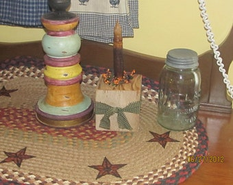 Primitive barn beam candle holder with grubby led candle