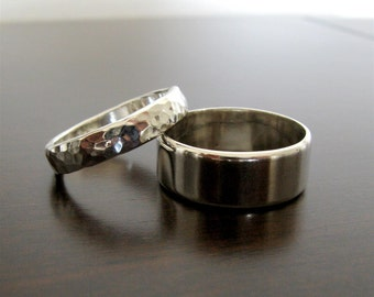 His and Her Flat Edge Wedding Band Set - Sterling Silver Contemporary Rings - Handmade Organic Rings - Made to Order