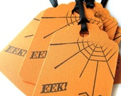 Halloween tags, Thank you tags, Gift tags - Spider, spiderweb, eek, spooky, scary, - Orange and black - Orange tags, black ribbon - 6 tags