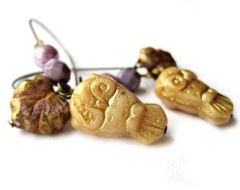 Gold earrings, purple earrings, lilac - gold owls - leaf earrings - Owl jewelry, forest, woodland jewerly - czech glass - tree, leaves