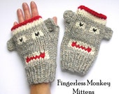 Fingerless Monkey Mitten Knitting Pattern PDF - PHONE FRIENDLY Sock-Monkeys in 4 Sizes
