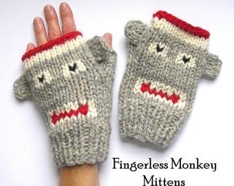 Fingerless Monkey Mitten Knitting Pattern, Sock Monkeys Knitting Pattern in 4 Sizes, Instant PDF Download
