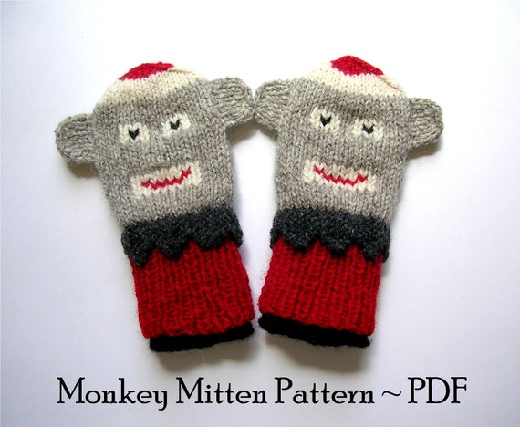 Monkey Mittens Knitting Pattern, Instant PDF Download, 2 Sizes for Children's Mittens