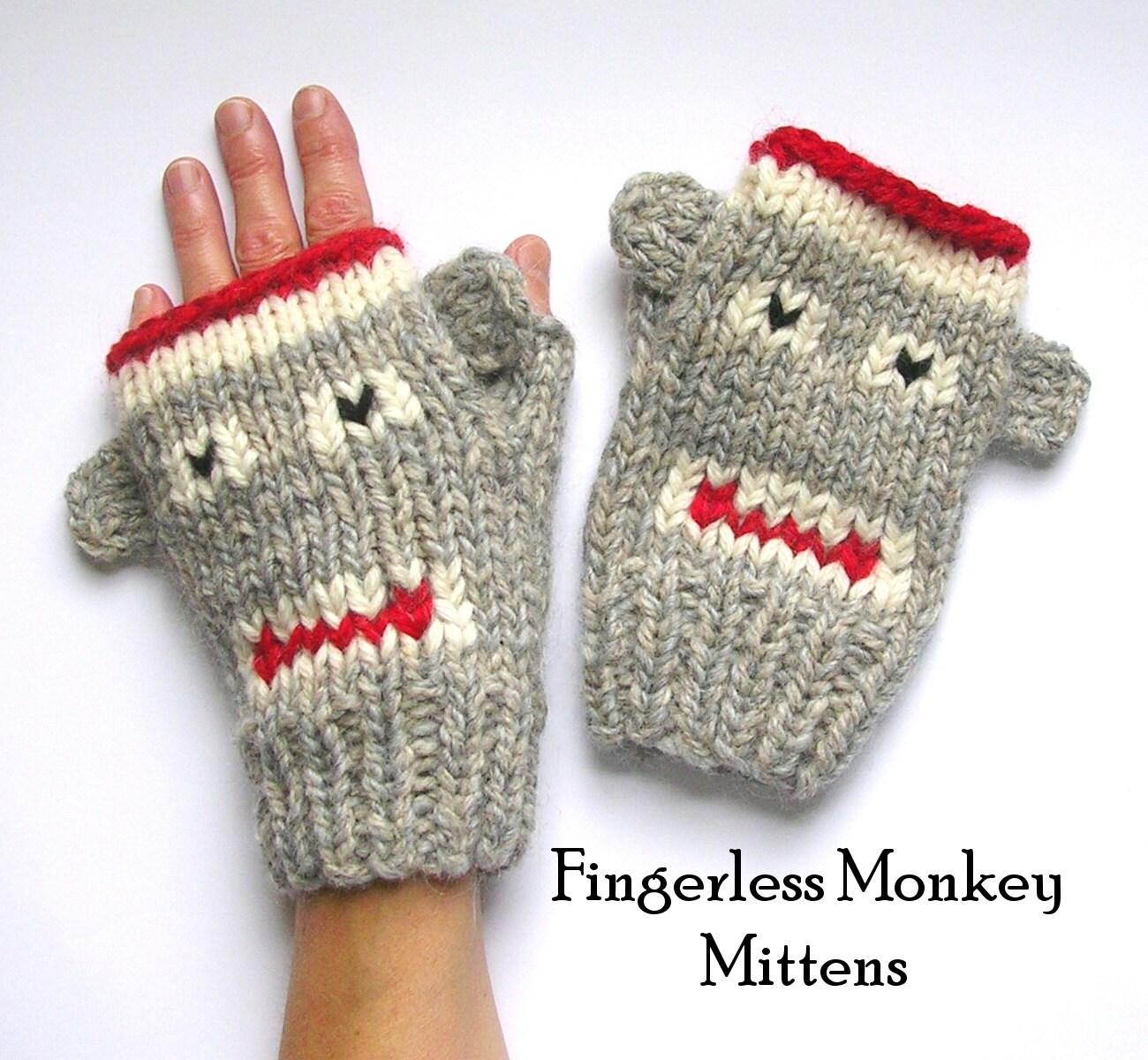 Knitting Patterns Sock Yarn Mittens : Fingerless Monkey Mitten Knitting Pattern Sock Monkeys