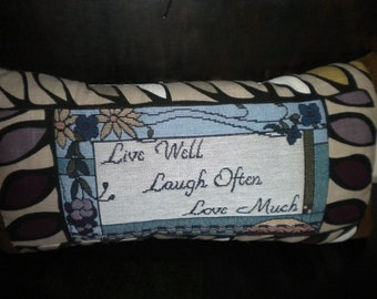 Tapestry- Leaves- Live-Love- Laugh Quote Pillow-Wedding