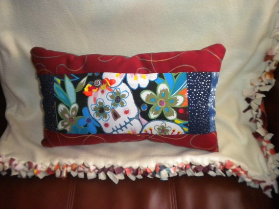 Day of Dead Pillow, Dia De Los Muertos, Mexican Art, Festive One Of A Kind Pillow