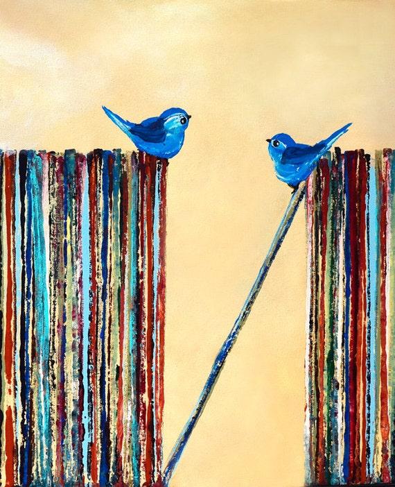 Blue Song Birds on Lp Vinyl Records Art Print