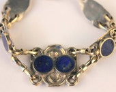 Indian Lapis Lazuli, Inca Style, Twin Bracelet Set, Blue and Silver, Festival Chic