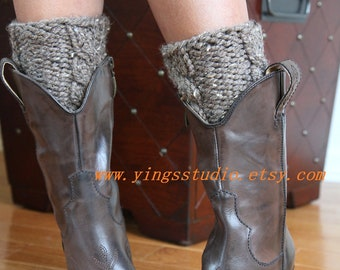 Hand knitted Leg Warmers -  Boot Cuffs - Cabled - Barley - Wool Blend. - Chunky - Fall Fashion - Winter Accessories