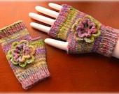 Hand Knit Fingerless Mitts with Crochet Flower, Handspun Merino Wool yarn, OOAK and Ready to Ship