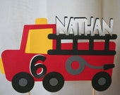 Birthday Cake Topper -  Personalized Fire Truck, Fire Engine, Fireman, Firefighter Theme