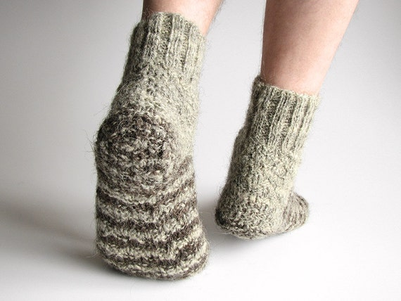 Striped Textured Thick Hand Knitted Socks - Natural, Not Dyed, Hand-spun Wool Yarn - Autumn Winter Eco Clothing