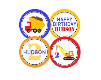 PRINTABLE PARTY CIRCLES Under Construction Party Collection - Dump Truck and Tractor - Memorable Moments Studio