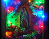 SALE Our Lady of Guadalupe SALE Hand Made Mexican Style Nicho Shrine Religious Art Assemblage Virgin Mary Jesus Birds Paper Flowers