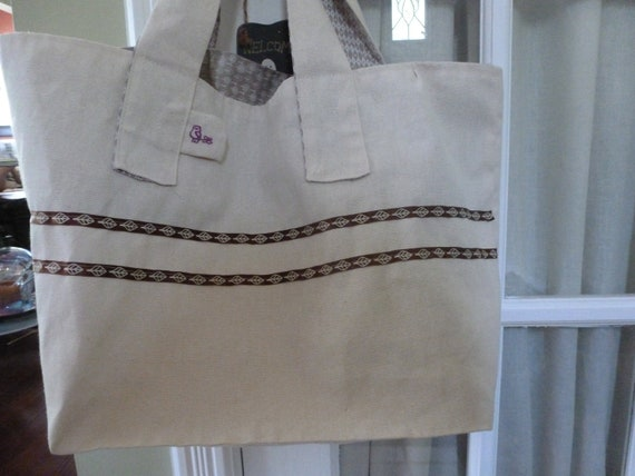 Canvas and Cotton Tote, Organic Canvas with Taupe Cotton Accent Fabric and Leaf Ribbon