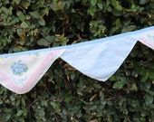Bunting Made With Vintage Handkerchiefs-Blue and Pink