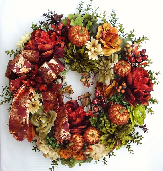 Fall, Autumn, Halloween, Thanksgiving, Gold Pumpkin, Acorn Flower Door Wreath