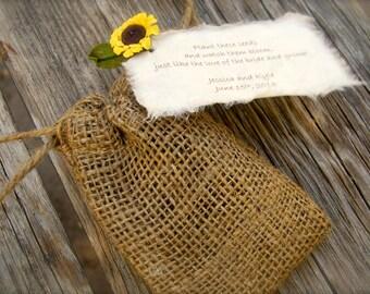 Do It Yourself Plantable Sunflower Seeds Burlap Bag Wedding Favor