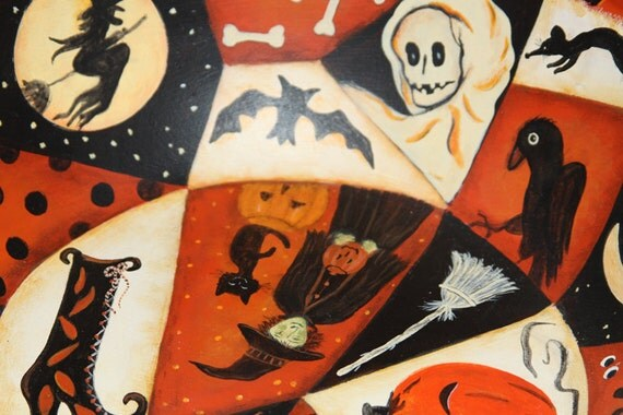 Halloween Folk Art Hand Painted Large Trick-or-Treat  Bowl with Witches, Goblins, Bats, Moon