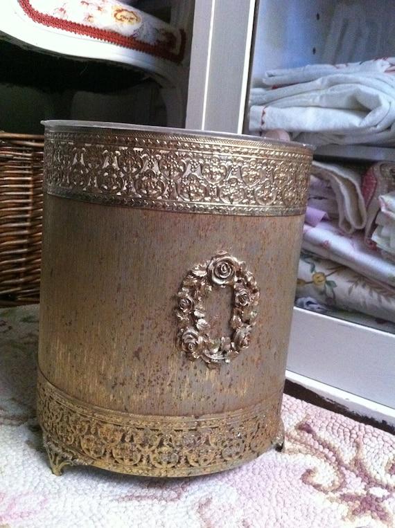 Vintage Ornate Metal Waste Basket - Trash Can - Paris Apt. Chic - Hollywood Regency