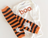 Halloween boo one piece and striped baby leg warmers with ghost