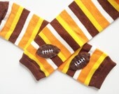 Football Baby Leg Warmers: yellow, orange, brown and white stripes with footballs - Snack Size Leg Candy