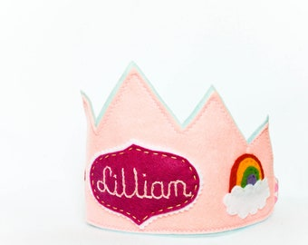 Personalized Rainbow Birthday Party Crown, Pink Felt Princess Fairy Dress Up Party, Pretended Play