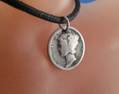 usa MERCURY DIME COIN necklace jewelry liberty head silver. United States. in god we trust. winged head. antique coin. choose year No.001215