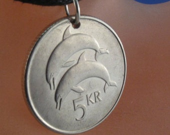 DOLPHIN NECKLACE  ICELAND coin jewelry . porpoise . 5 kr  kronur . icelandic  charm pendant crown emblem  . choose year . No.001166