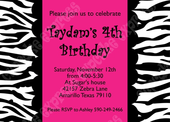 Items Similar To Diy Hot Pink Zebra Birthday Party Printable