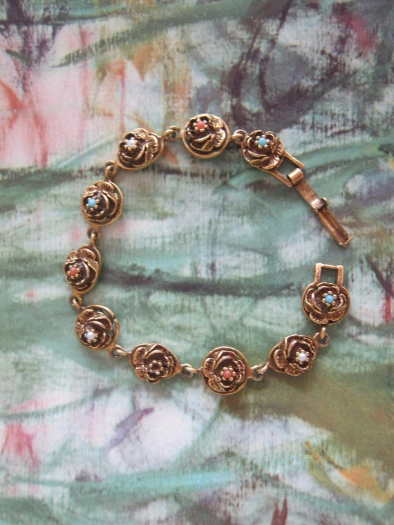 """Perfect Roses...Shabby - Rosebuds - Delightful -  coral, pearl, turquoise stones- 7"""""""