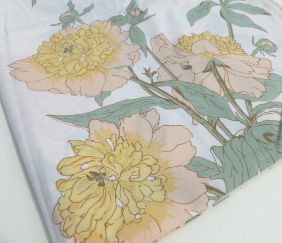 Peach, Yellow and Mint Peonies Vintage Twin Size Flat Sheet by Utica
