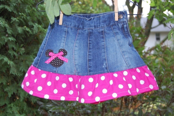 Disney Themed upcycled denim skirt 3t -ready to ship - Mickey and Minnie